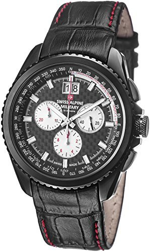 Swiss Alpine Military Thunder Men's Black PVD Swiss Quartz Chronograph Watch 1621.9577 SAM (Chronograph Pvd Swiss)
