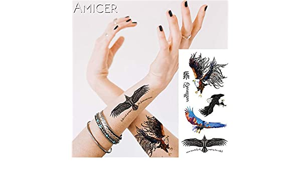 1 pieza Fantasy Color Freedom bird Phoenix Hot Large animal Tattoo ...