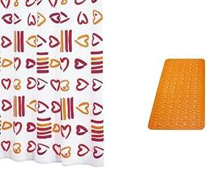 Ridder 497030-350 - Juego de cortina de ducha (corazones) con alfombra de color naranja