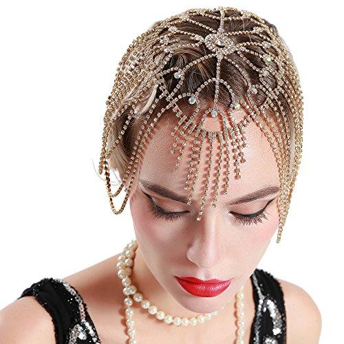 Cap Headpiece (BABEYOND Vintage Style Roaring 20s Crystal Rhinestone Flapper Cap Headpiece (Gold))