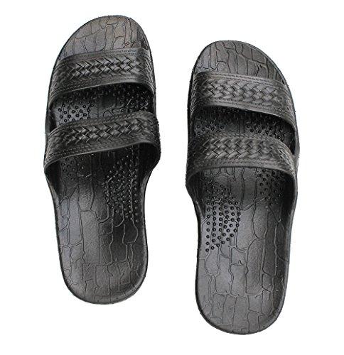 - IMPERIAL SANDALS HAWAII Footwear Brown Black Gray Jesus Sandal Slipper for Women Men and Teen Classic Style (8, Black)