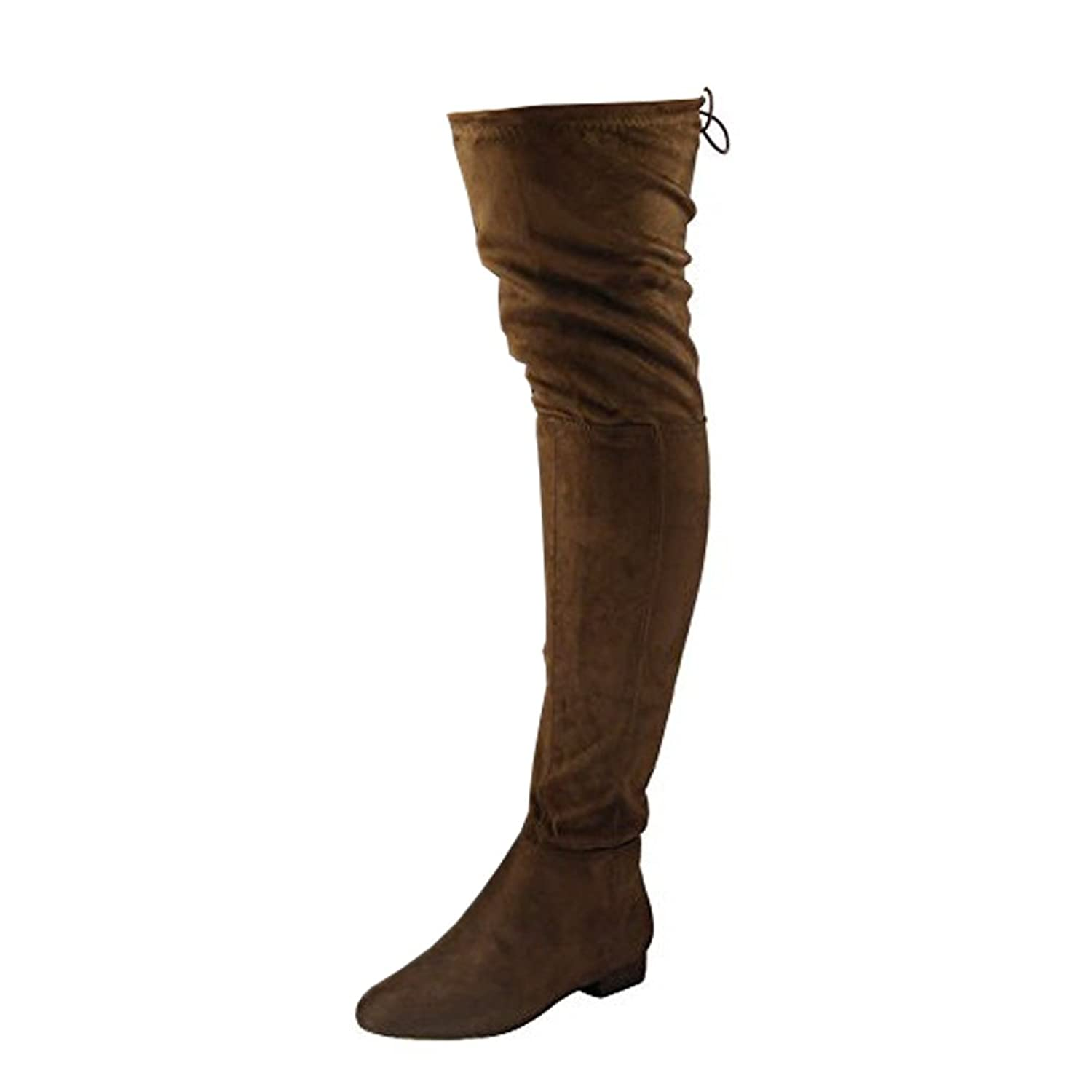 Womens Ladies Thigh High Over The Knee Low Heel Flat Lace Up Boots Shoes  Size 3