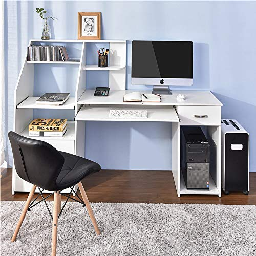 Computer Desk with Cabinet, Home Office Computer Workstation Study Writing Desk with Storage Drawer and Pull-Out Keyboard Tray, White