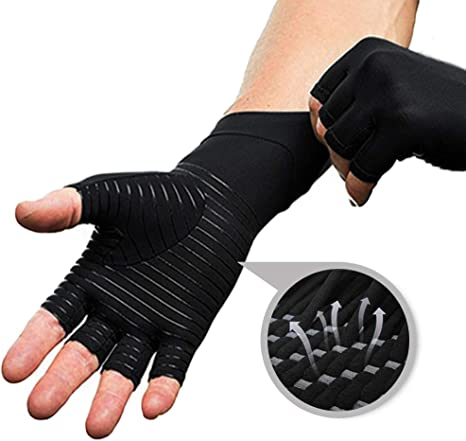Anti Arthritis Gloves Compression Support Hands Pain Relief Pair UK FREE SHIP KA
