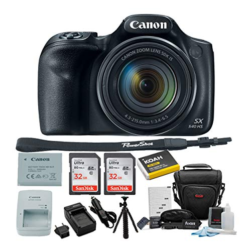 Canon Powershot SX540 HS Digital Camera with 50X Optical Zoom and 32GB Memory Card Pack of 2, Spare Battery and Charger…