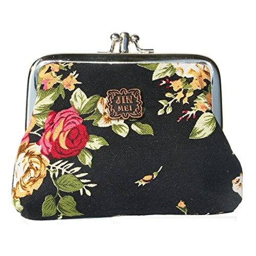 Generic Women Floral Exquisite Clasp Coin Purse Cards Case Flowers Print Wallet For girls (Black)