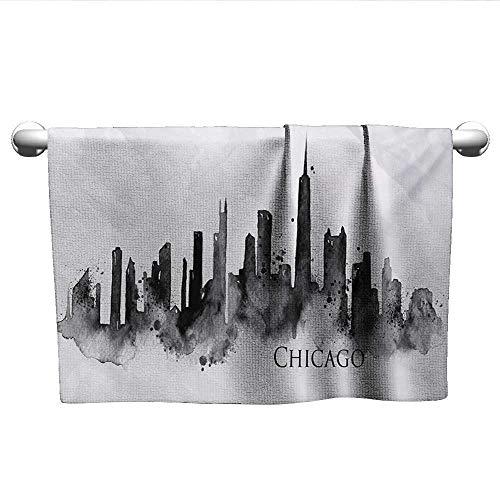"alisoso Chicago Skyline,Bath Sheet Watercolor Urban Landscape Grunge Brushstroke Effects Murky Image Pool Gym Towels Black Charcoal Grey W 10"" x L 10"""