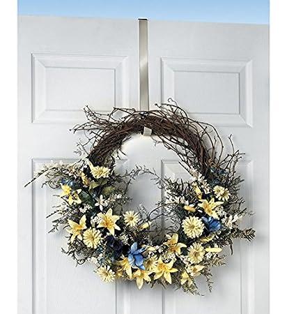 Bon Spectrum Satin Nickel Design Over The Door 1u0026quot; Deluxe Wreath Holder  Satin Nickel