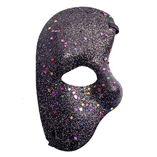 CHOP MALL Colorful Gold Dust Face Mask Happy Halloween Dress-Up Costume Party Novelty Mask for Halloween Party Masquerade Cosplay Festival (Halloween Costume Asda)