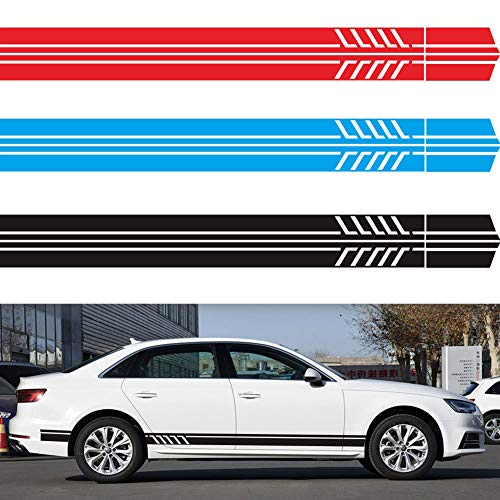 JUST N1 4Pcs Car Side Stickers Racing Door Stripe Rear Bumper Skirt Decal for Mercedes Benz CLA Class CLA45 AMG W117 C117 X117 W176 A200 Graphic Vinyl