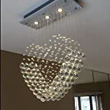 Deluxe Modern Chandelier Love Heart Lighting Crystal Ball Fixture Pendant Ceiling Lamp for Girl Room Bedroom L20 X W8 X H27.6 Inches Of Ella Fashion