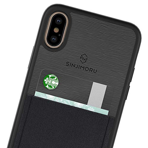 Sinjimoru iPhone Xs Max case with Card Holder, Slim Card Wallet case. Sinji Pouch Case for iPhone Xs Max (2018), Black
