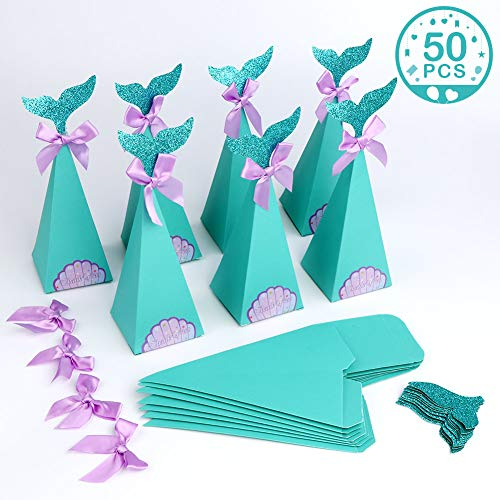 PartyTalk 50pcs Mermaid Party Boxes Favors Mermaid Gift Bags with Thank You Stickers for Kids Birthday Baby Shower Under The Sea Mermaid Party Decorations and Supplies -