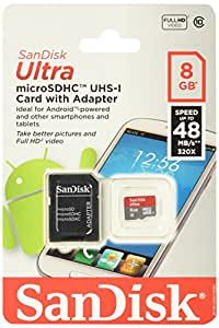 SanDisk Class 10 Micro 8GB SDHC Card with Adapter (SDSDQUA-008G-A11A)