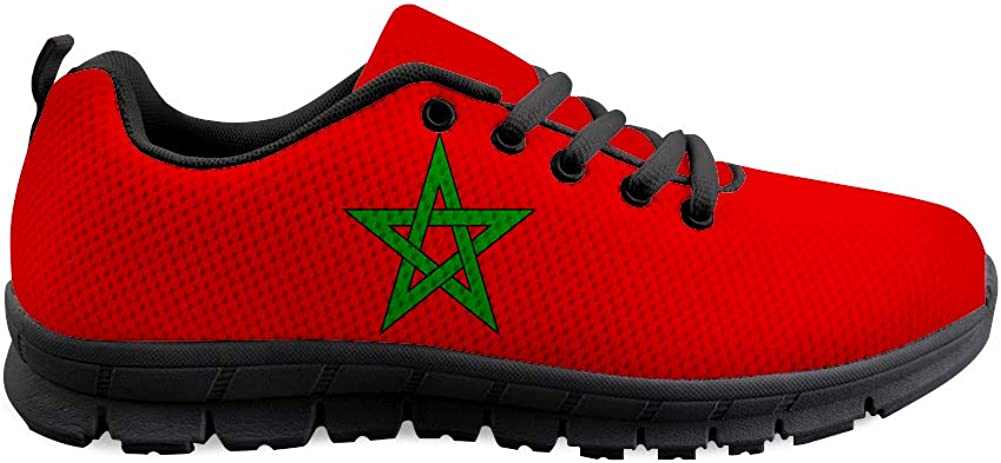Owaheson Lace-up Sneaker Training Shoe Mens Womens Morocco Flag