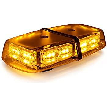 Xprite Gen 3 Amber Yellow 36 LED 18 Watts Roof Top Hign Intensity Law Enforcement Emergency Hazard Warning LED Mini Bar Strobe Light with Magnetic Base