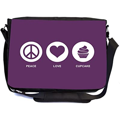 Rikki Knight Peace Love Cupcake Purple Color Design Multifunctional Messenger Bag - School Bag - Laptop Bag - with padded insert for School or Work - Includes UKBK Premium coin Purse