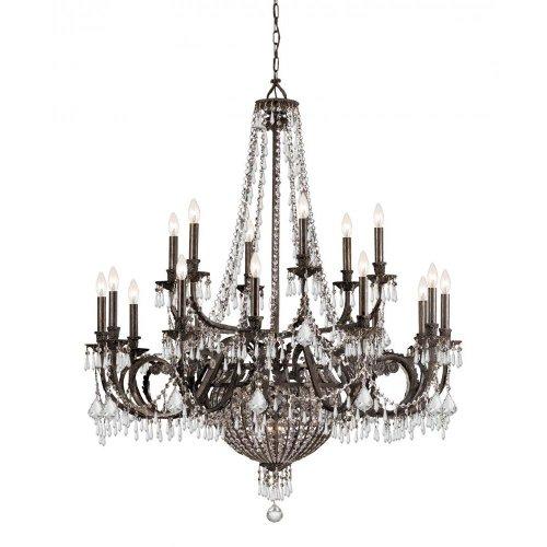 Crystorama 5169-EB-CL-MWP Crystal 12 Light Chandeliers from Vanderbilt collection in Bronze/Darkfinish,
