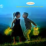 Garden Solar Lights,Sapoelis Pineapple Lanterns Solar Lights for Patio Path Home,25 LED Waterproof Hanging Fairy Lights for Outdoor Patio Yard Decor (2 Pack)