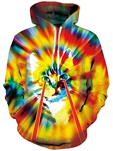 Adult 90s Long Sleeve Drawstring Tie Dye Cat Lightning Printed Fleece Pullover Hoodie Sweatshirt with Pockets