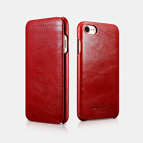 iPhone 8 Case,Mangix Icarercase [Vintage Classic Series] Luxury Premium Genuine Real Leather Case Back Cover with [Ultra Slim] for Apple iPhone 8 4.7inch (Red)