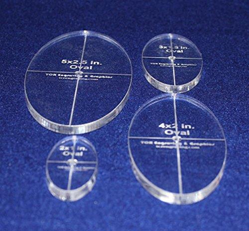 3 4 Piece Quilt Ovals Templates 2 4 5-1//4 thick