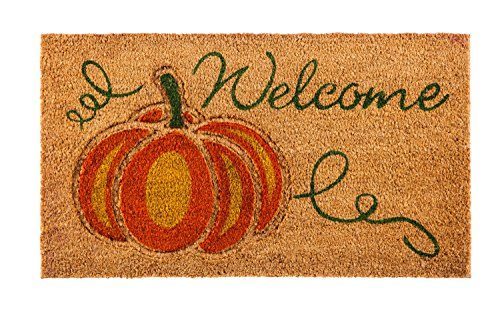 Evergreen Flag 2RM386 Welcome Pumpkin Coir Mat, Multi-Colored