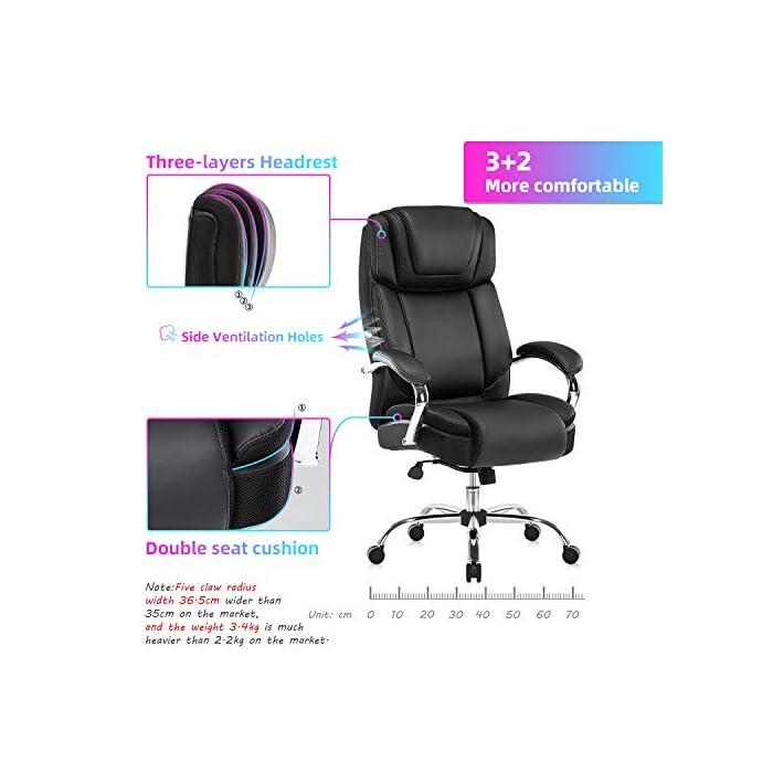 51k%2B026Ab%2BL Haz clic aquí para comprobar si este producto es compatible con tu modelo Silla de oficina de piel regenerada: la silla ejecutiva grande y alta de Yamasoro fue diseñada para tu comodidad. La silla tiene acolchado suave y grueso y borde del asiento en cascada para menos presión en la parte posterior de tus piernas para que puedas mantenerte cómodo incluso cuando tengas que sentarte durante horas Comodidad para tu productividad: diseño ergonómico de silla de oficina con cojines de doble capa para sillas. Asiento de resorte de bolsillo de alta elasticidad. Cojín de silla de escritorio 30 ~ 50% más grueso que el asiento normal. Una silla de oficina y respaldo con reposacabezas contorneado grueso. Comodidad continua para largas horas de juego o trabajo. Mayor densidad, mejor elasticidad, mayor resistencia. Combinación perfecta para tu mesa de juego y escritorios de ordenador