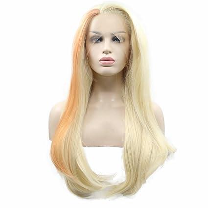 Peluca sintética color sirena para mujer, mezcla de rubio pastel, naranja de alta temperatura