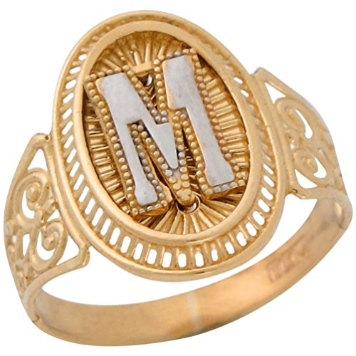 10k Two Tone Gold Letter M Filigree Band Radiant Ladies Oval Initial (Radiant Two Tone Ring)