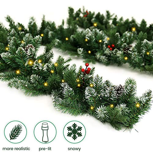 ANOTHERME Pre-Lit Christmas Garland 9 Ft Feel Real Snowy White 50 LED Lights Pine Cone (Garland Christmas Battery Lit)