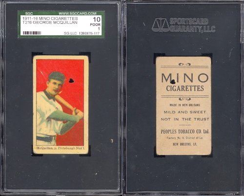1911 mino cigarettes t216 (Baseball) Card# 51 george mcquillan of the pittsburgh nat. Fair Condition ()