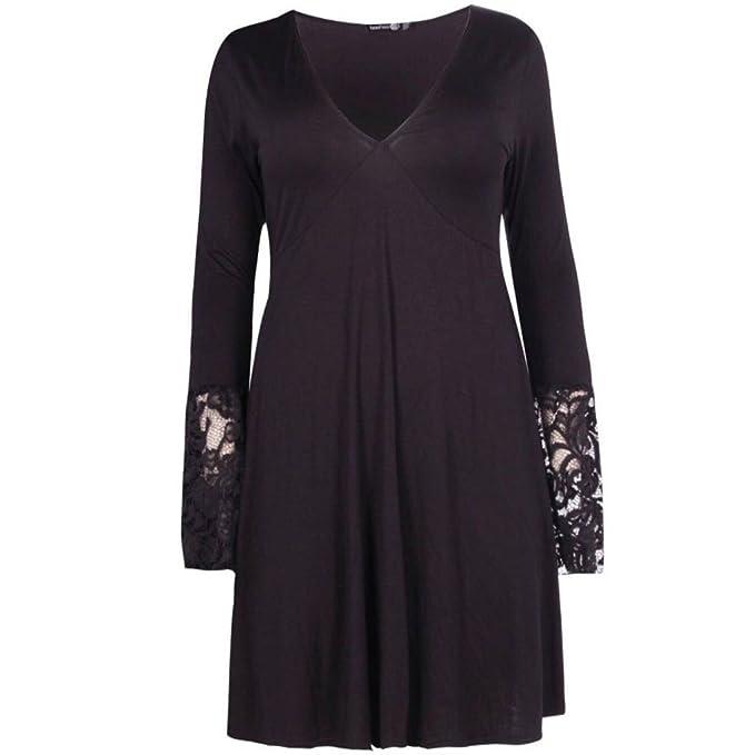 Cima Mode Ladies Plus Size Lace Detail Long Sleeve ...
