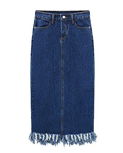 Jupe En Jean Femmes Taille Haute Longue Droite Jupe Avec Gland Bleu
