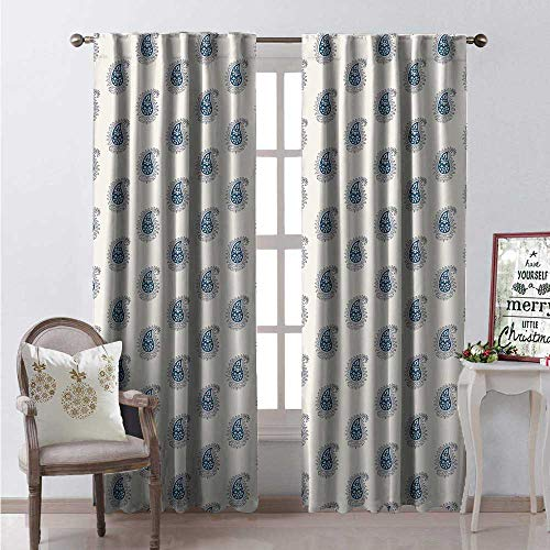 Hengshu Aqua Paisley Room Darkening Wide Curtains Continuous Pateh Pattern Artsy Floral Ornaments Illustration Decor Curtains by W96 x L96 Eggshell and Dark Sky Blue