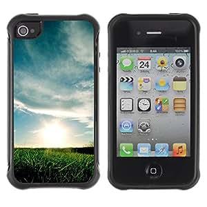 All-Round híbrido de goma duro caso cubierta protectora Accesorio Gerneration-II Compatible con Apple iPhone 4y 4S–naturaleza bella Forrest verde 69