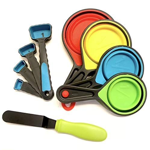 9 Piece Collapsible Kitchen Silicone Set- with Baking Spatula, for Cooking, Measuring Liquids, Powders, and Cake Baking -