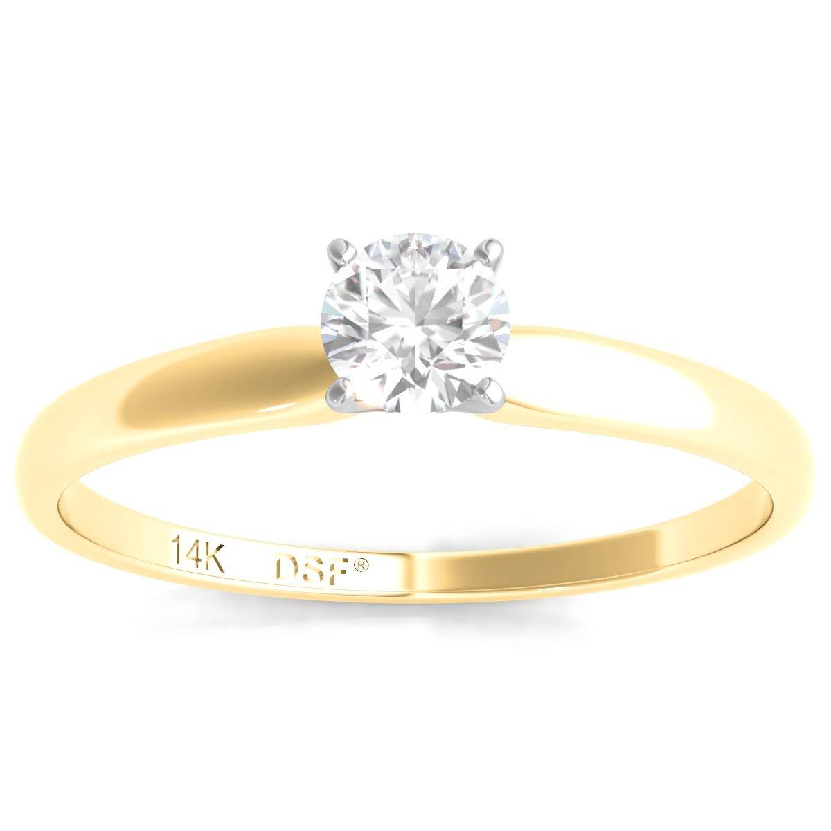 Diamond Studs Forever 14K Yellow Gold Solitaire Diamond Engagement Ring (1/3 Ct tw IGI Cert IJ/I1)