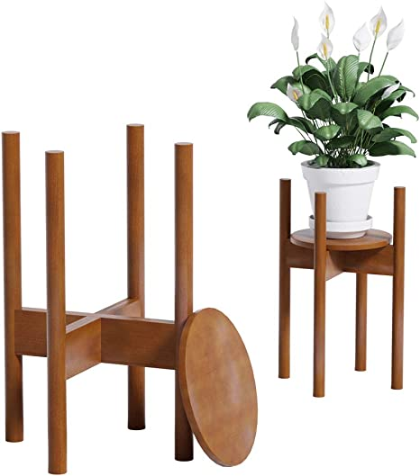 Yealeo Adjustable Bamboo Plant Stand Indoor With Tray Modern Wood Flower Stand Holder Suitable For 21cm 30cm Pot Brown With Tray 1 Pack Amazon Co Uk Garden Outdoors