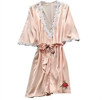 Vestido Kimono de Mujer, camisón de Pijama, Camisas de Mujer, Vestido de satén de Seda, Vestido de Dama de Honor: Amazon.es: Ropa y accesorios