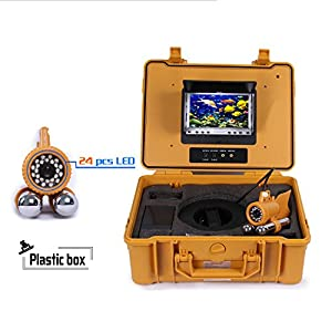 """Wsdcam 7"""" Color LCD Monitor Fish Finder System 800tvl CCD Waterproof DVR Camera Fishing 100m Cable Underwater Fishing Camera with Carry Case"""