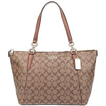 Amazon.com  Coach Ava Tote Bag In Signature Khaki Saddle  Clothing 5e42201cfe
