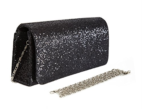 Sequins Clutch Evening Party Bag (Black) - 1