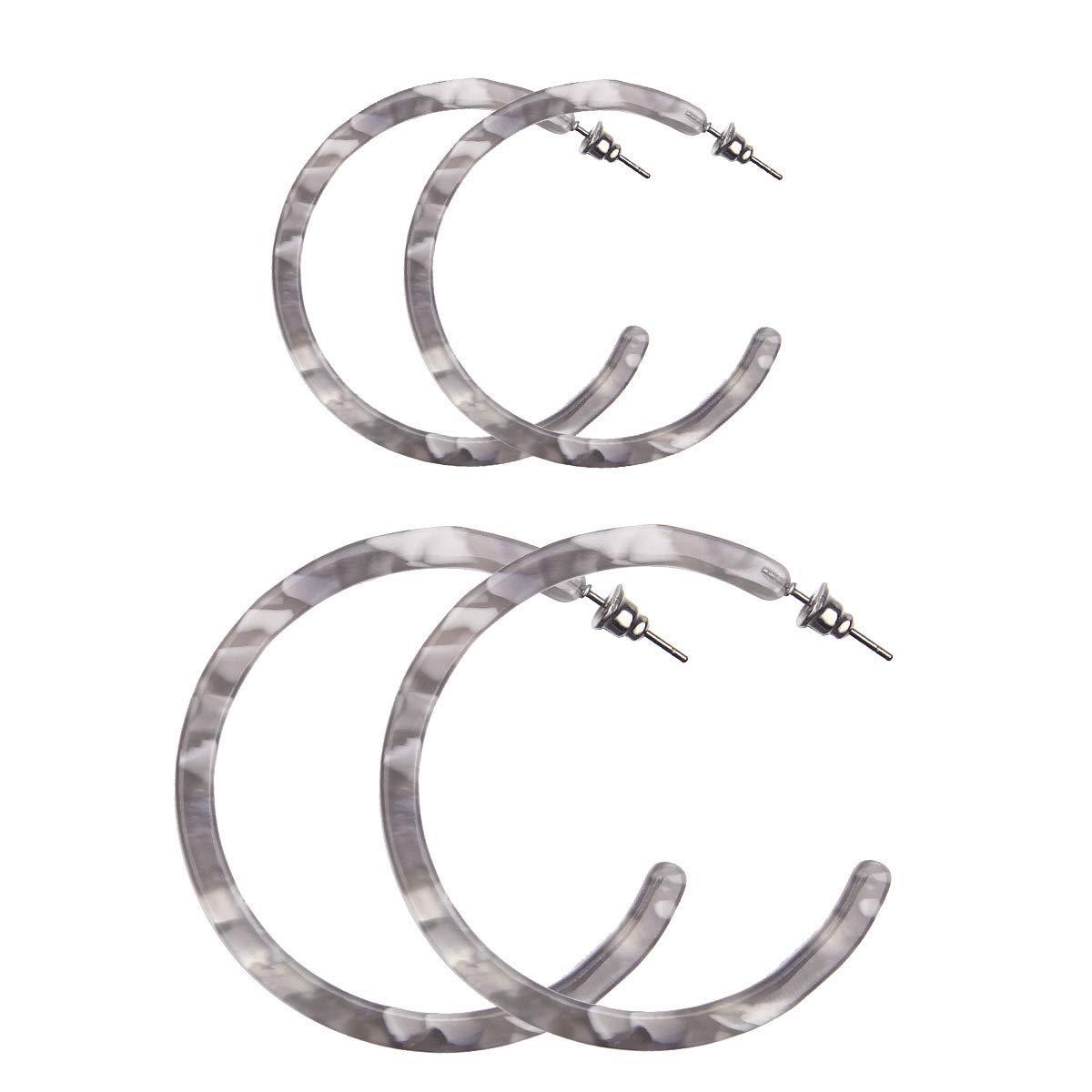 2 Pairs Resin Hoop Earrings Tortoise Shell Bohemian Acrylic Earrings for Girls and Ladies Zesen