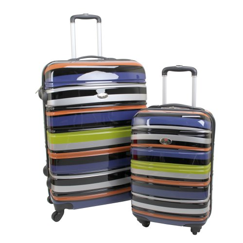 Swiss Case 28'' TECHNICOLOR 4 Wheel Hard Suitcase + FREE Carry-on 20'' luggage set by SWISS+CASE