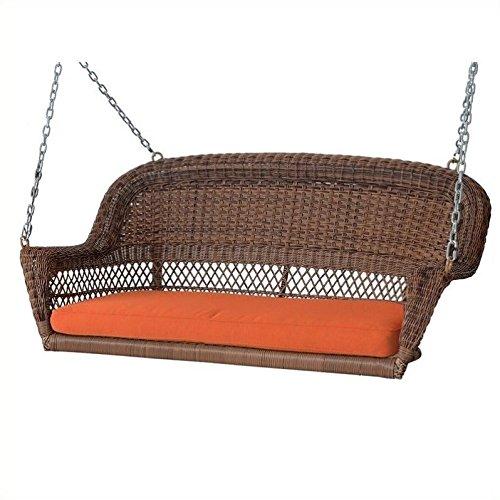 Jeco W00205S-C-FS016 Honey Wicker Porch Swing With Orange Cushion