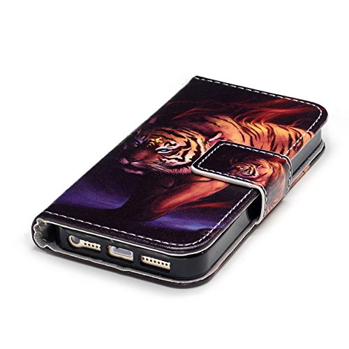 iPhone 5/5S/SE Bunte Lederhülle,iPhone 5S Flip Case Cover, Aeeque Bookstyle Brieftasche Magnet Kartenfächer Standfunktion Handytasche mit Portable Handy Taljereep Flexibel Silikon Innere Bumper Rücksc Tier Tiger