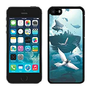 Unique Custom Designed Flying Whale Fortress iPhone 5 5c 5th Generation Black Phone Case CR-204