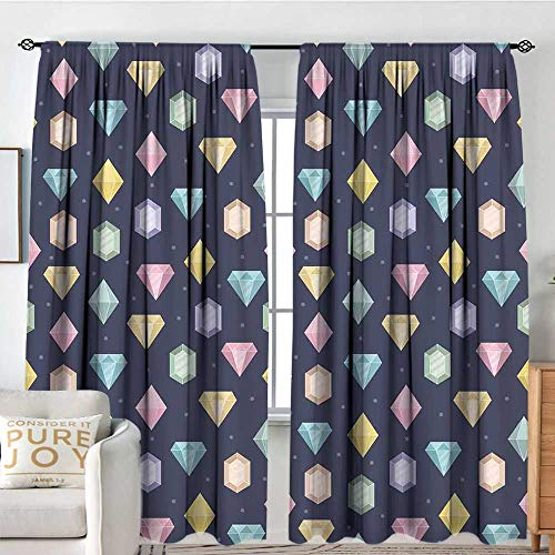 (Colorful Outdoor Curtains Bedroom Drapes Graphic Gemstones with Different Shapes Trillion Drop and Marquise Cut Pattern Home Darkening Curtains W72 x L63 in Multicolor )