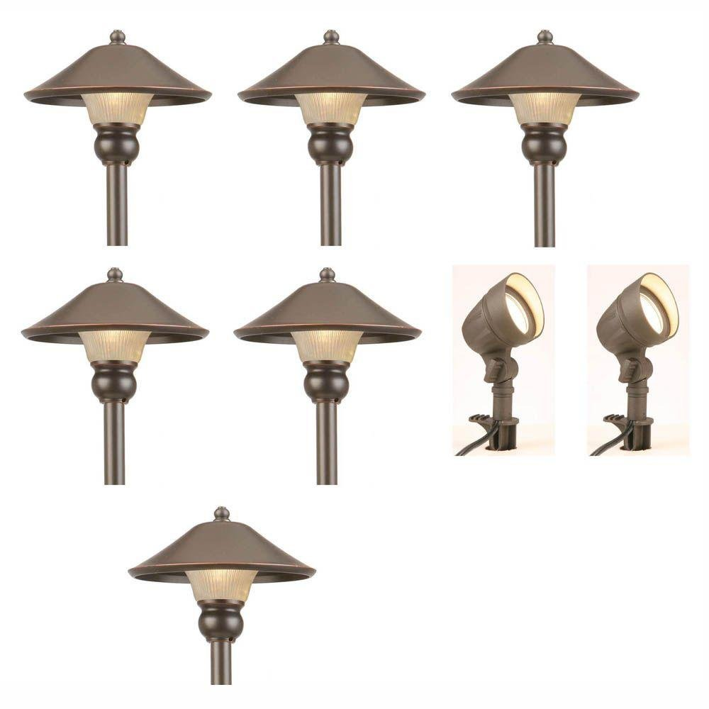 Amazon com low voltage led bronze outdoor light kit 8 pack clothing